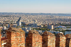 Old byzantine walls at Thessaloniki, Greecу Stock Photos