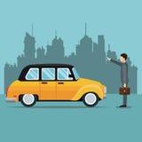 Old cab car passenger user service public. Vector illustration eps 10 Royalty Free Stock Image