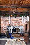 Old Cabin Christmas Fireplace Royalty Free Stock Image