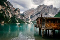 Old cabin at Lago Di Braies in the Italian Dolomites royalty free stock images
