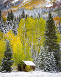 Old Cabin in the San Juan Mountains of Colorado. Rustic old cabin sits at the base of a mountain during the change of season.  Autumn and winter collide Stock Images