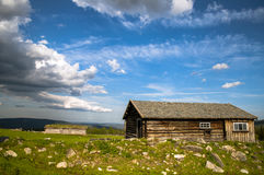 An old cabin. On top of the Norwegian mountain a summer day stock photo