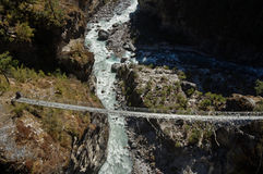 Old Cable Bridge in Nepal Stock Photography