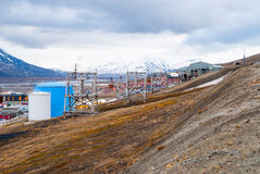 Old cable car for coal transportation, Svalbard, Norway Royalty Free Stock Images