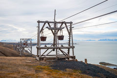Old cable car for coal transportation, Svalbard, Norway Stock Image