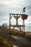Old cable car for coal transportation, Svalbard, Norway Royalty Free Stock Image