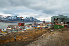 Old cable car for coal transportation, Svalbard, Norway Royalty Free Stock Photo