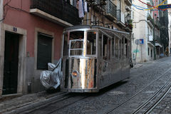 Old cable car in Lisbon, Portugal Stock Images