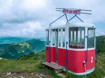 Free Old Cable Car Or Lift Gondola In Peak Panorama Of Monte Baldo Mountain Near Malcesine In Italy Royalty Free Stock Images - 214385149