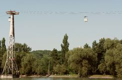 The old cable car. View of the resort lake and the old cable car in Nalchik Stock Photo