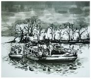 Old cable ferry. Black and white illustration of old cable ferry on the river Tisa in Serbia Stock Image