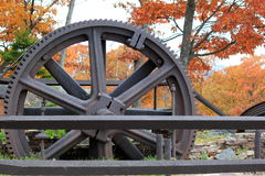 Old cable gears that brought visitors to the summit of Prospect Mountain, Lake George, New York, 2016. Gorgeous Fall scene with colorful trees and old,weathered Stock Photos