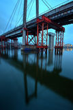 Old cable-stayed bridge. Over the Dnieper River Royalty Free Stock Photo