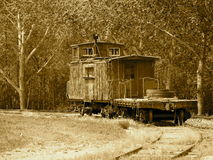 Old Caboose In Sepia Tone Royalty Free Stock Photo