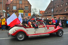 Old cabrio car on a parade Royalty Free Stock Image