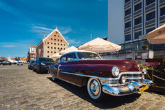 Old Cadillac on a street. Gdansk, Poland - July 22 2017: Old Cadillac on a street of Gdansk in summer Stock Photo