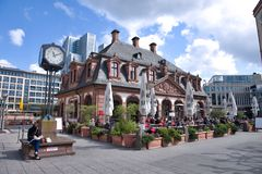 Old cafe house in Frankfurt city, Germany Stock Images