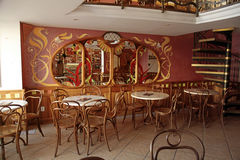 Old cafe interior in typical Viennese style,Bratislava Stock Photos