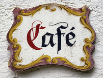 Old cafe sign Stock Photography