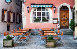 Old cafe. Table and chairs at a cafe - beergarden Stock Photos