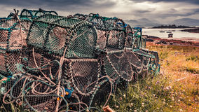 Old cage for lobster on shore in summer, Scotland Royalty Free Stock Photography