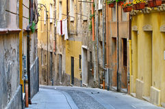Old Cagliari Street. Shot of a street in the Historical Quarter of Cagliari, Sardinia, Italy Royalty Free Stock Photography