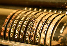 Old calculating machine. Very old calculating machine or something else stock photos