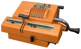 Old calculator. Old orange manual calculator isolated with clipping path Stock Image