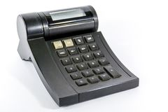 An old used calculator black Stock Photography
