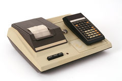 Old calculator with printer Royalty Free Stock Photo