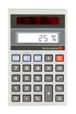 Old calculator showing a percentage - 25 percent Royalty Free Stock Photo