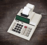 Old calculator showing a text Stock Image