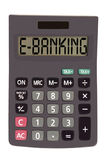Old calculator on white background showing text. E-banking on display of an old calculator on white background Stock Photos