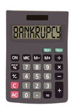Old calculator on white background showing text Stock Images