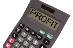 Old calculator on white background showing text. Profit written on display of an old calculator on white background in perspective Stock Photo