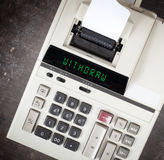 Old calculator - withdraw. Old calculator showing a text on display - withdraw Stock Photo