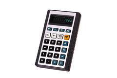 Old calculator. Year 1980 , old calculator  on white background Stock Photo