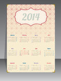 Old 2014 calendar with textured background Royalty Free Stock Photo