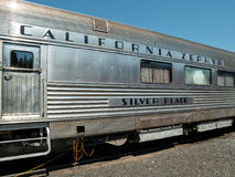 Old California Zephyr car. Nostalgic rail car at the Western Pacific museum, California Zephyr Silver Plate Royalty Free Stock Image