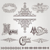 Old calligraphic royal ellement banner Stock Photos