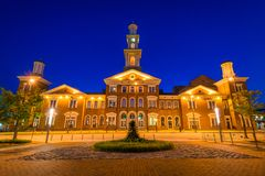 The old Camden Station Building at night, in downtown Baltimore, Maryland.  royalty free stock photos