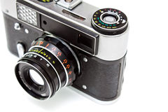 Old camera. Isolated on the white background Royalty Free Stock Photo
