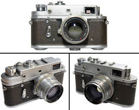 Old camera. Old Russian (soviet) 35mm rangefinder camera(Zorki). Isolated on white background stock images