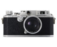 Old camera. Old film camera on white backgraound royalty free stock photo