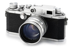 Old camera. Old film camera on white backgraound Stock Photos