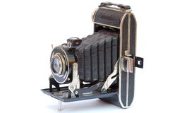 Old camera. Old photo camera on white background royalty free stock images