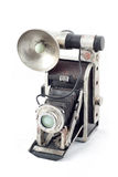 Old camera. An old camera with a white background Royalty Free Stock Photo