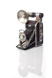 Old camera. An old camera with a white background Royalty Free Stock Image