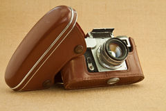 Old camera. Model of classical 35 mm camera in the middle of the nineteenth century Royalty Free Stock Photography