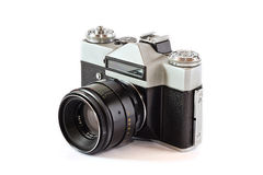 Old camera. Old film camera with lens stock photography